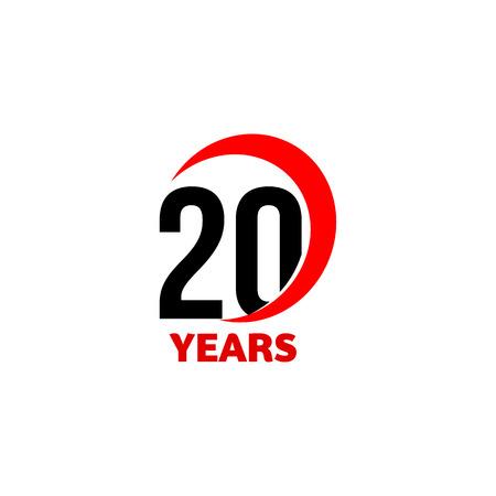 20 주년 추상 벡터 로고입니다. 20 생일 축하 해요 아이콘. 텍스트 20 년 붉은 원호에 검은 색 숫자 일러스트