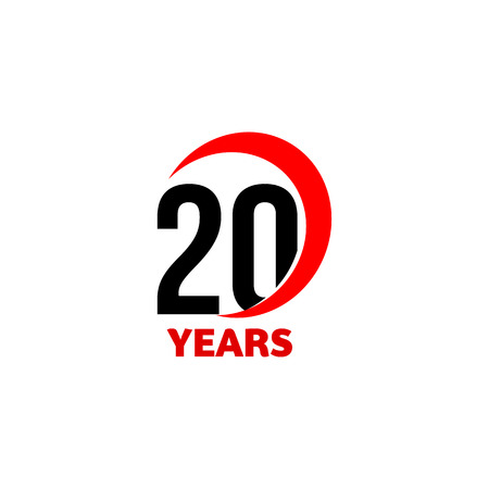 20th Anniversary abstract vector logo. Twenty Happy birthday day icon. Black numbers in red arc with text 20 years