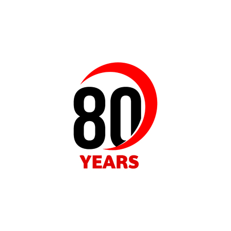 80th: 80th Anniversary abstract vector logo. Eighty Happy birthday day icon. Black numbers in red arc with text 80 years Illustration