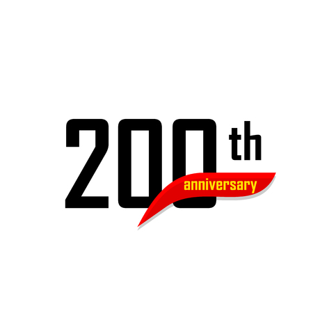 200th Anniversary abstract vector logo. Two handred Happy birthday day icon. Black numbers witth red boomerang shape with yellow text 200 years Illustration