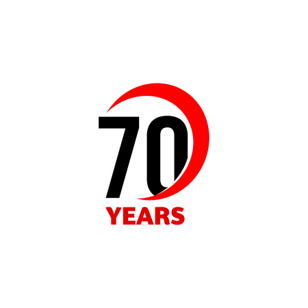 70th Anniversary abstract vector logo. Seventy Happy birthday day icon. Black numbers in red arc with text 70 years Illustration