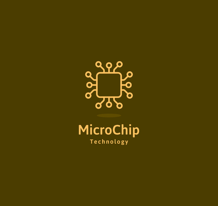 Microchip abstract linear vector logo. Microprocessor plain icon. Digital art design element. Smart technology logotype