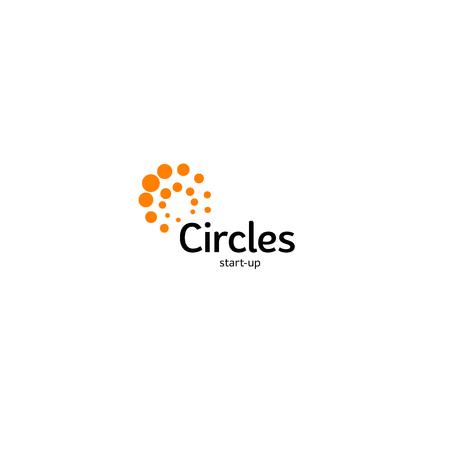 Abstract vector circle logotype. Orange unusual isolated chem logo. Virus icon. Orange sun. Flower