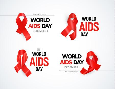 Hiv 인식 아이콘을 설정합니다. 빨간 리본 눈부심, 세계 원조 하루 기호 컬렉션. AIDS 벡터 일러스트를 중지하십시오.