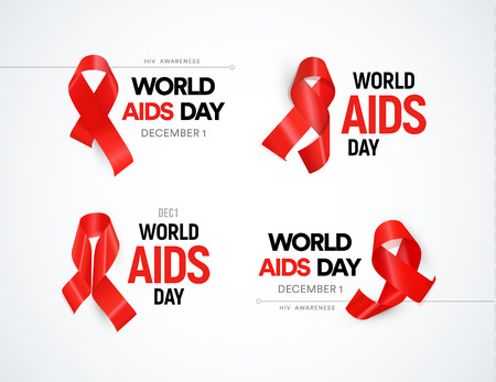 Hiv awareness icon set. Red ribbons with glare, world aids day signs collection. Stop AIDS vector illustrations. Иллюстрация