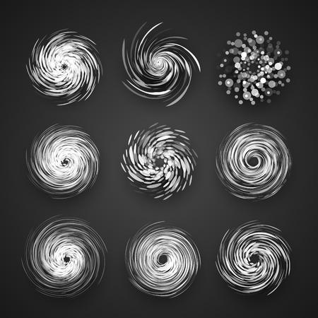 Realistische Hurrikan-Wirbelsturm-Vektorikone, Taifunspiralensturm, Drehungswirbelillustration auf schwarzem Hintergrund mit Schatten Standard-Bild - 89826192