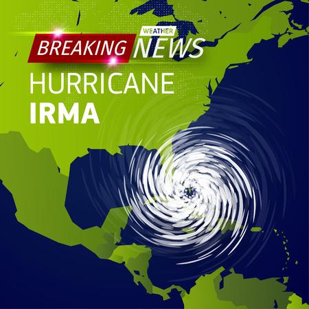 Noticias de última hora de TV, ilustración vectorial de ciclón de huracán realista en el mapa de EE. UU., Logotipo de tormenta de tifón en espiral en el mapa del mundo verde, ilustración de vórtice de giro sobre fondo negro con sombra
