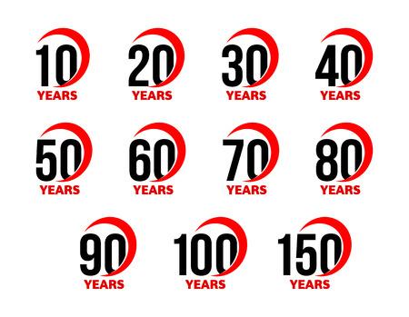 Anniversary sign set, black numbers with red abstract arc ribbon, birthday vector, business celebration icon collection Illustration