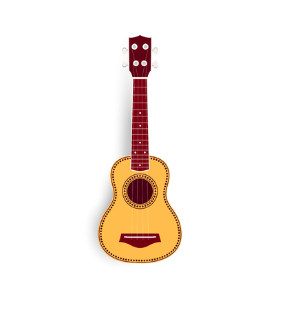 Ukulele vector realistic illustration, yellow small soprano ukulele for music shop or web. Hawaiian guitar, national musical instrument