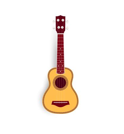 tenor: Ukulele vector realistic illustration, yellow small soprano ukulele for music shop or web. Hawaiian guitar, national musical instrument