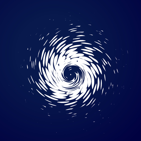 Huge hurricane, tornado, typhoon, white swirl clouds, twister on blue sea background top view. Danger cyclone vector illustration, web infographic Illustration
