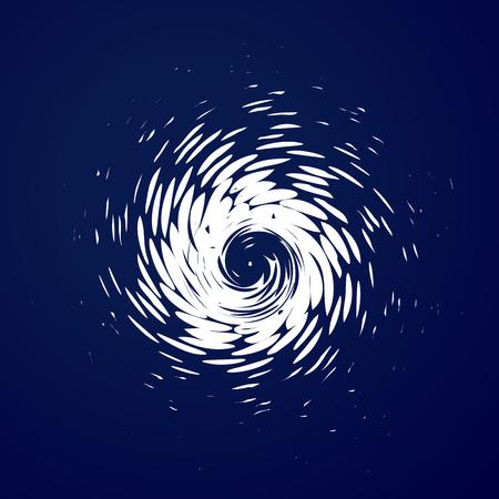 巨大なハリケーン、竜巻、台風、白い渦雲、青い海背景平面図上で竜巻。危険サイクロン ベクトル図、web インフォ グラフィック  イラスト・ベクター素材