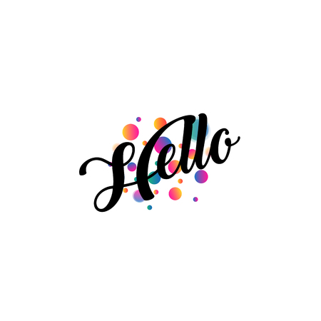 White holiday card or logo with lettering in a calligraphic style with the inscription Hello. Welcoming emblem text is surrounded by simples, focus and defocus balls, dots, asterisks. Illustration