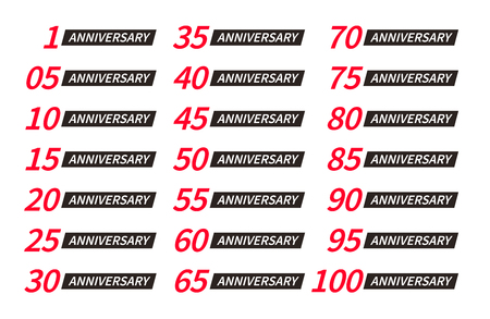 Isolated red and black color numbers with word years icons collection on white background, birthday anniversary greeting card elements set vector logos 일러스트