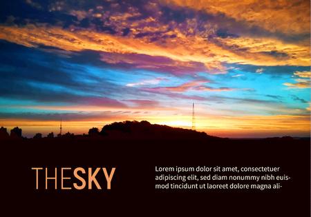 Beautiful sky colorful sunshine and sunrise background vector. Bright orange sun and amazing clouds Illustration