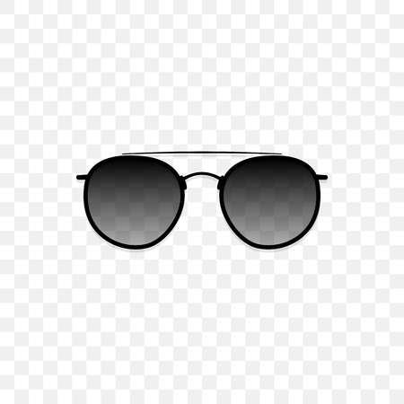 Realistic sunglasses with a translucent black glass on a transparent background. Protection from sun and ultraviolet rays. Fashion accessory vector illustration. Vectores