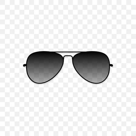 Realistic sunglasses with a translucent black glass on a transparent background. Protection from sun and ultraviolet rays. Fashion accessory vector illustration. Vettoriali