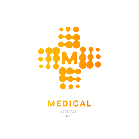 Halftone orange cross, plus symbol. Medical abstract. MRI scanning diagnostic vector logotype