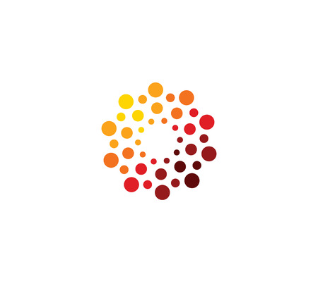 Innovation abstract unusual isolated vector round template from circles on white background. Red color shape, connection technology concept.Shine sun, chemical structure sign. Globe medical mind. Vettoriali