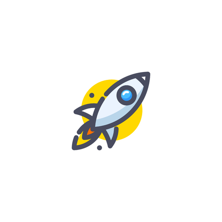 Rocket flying up icon. Colorful cartoon ship launch. Innovation product. Business aspiration strategy vector illustration on white background.