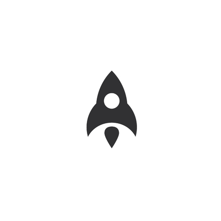 Rocket flying up icon. Black ship launch. Innovation product. Business aspiration strategy vector illustration on white background.