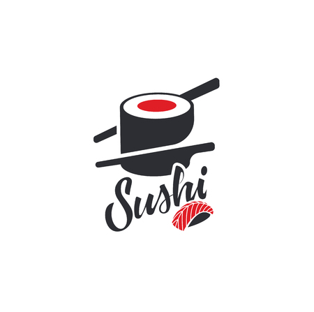 Sushi and rolls with chopstick bar or restaurant vector logo template. Japanese or chinese traditional cuisine, tasty food icon. Abstract black and red color for asian emblem. Illustration