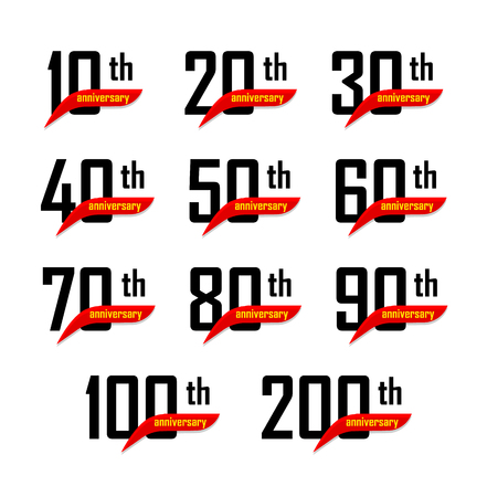 Geometric anniversary signs set, black numbers with yellow text on red ribbon or boomerang, birthday vector logos, business celebration icons collection Illustration