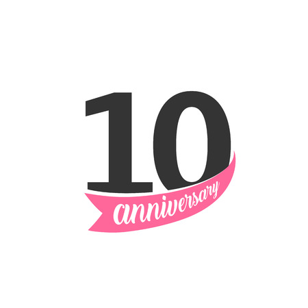 Tenth Anniversary vector logo. Number 10. Illustration for greeting card, invitation, poster, marriage, commemoration, certificate.