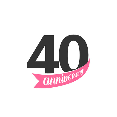 Fortieth Anniversary vector logo. Number 40. Illustration for greeting card, invitation, poster, marriage, commemoration, certificate.
