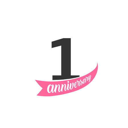 First Anniversary vector logo. Number 1. Illustration for greeting card, invitation, poster, marriage, commemoration, certificate. Illustration