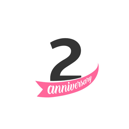 Second Anniversary vector logo. Number 2. Illustration for greeting card, invitation, poster, marriage, commemoration, certificate.