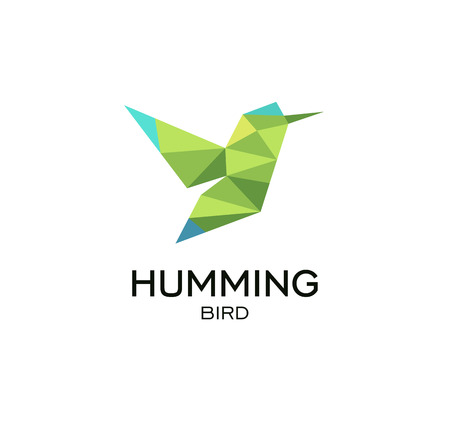 Hummig bird geometrical sign, calibri abstract polygonal vector logo template. Origami green color low poly wild animal icon. Ilustracja