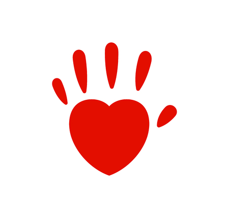 Hand imprint, heart palm vector logo. Family love, red icon