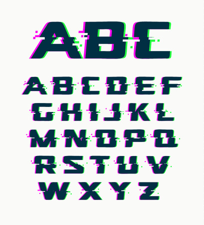 Glitch font, vector isolated abstract symbols with digital noise, modern design alphabet on white background 向量圖像