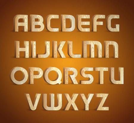 Fonte tipografica di legno geometrica isolata. Tipo di materiale di legno 3d simboli di alfabeto. Illustrazioni vettoriali.