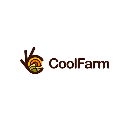 Ok symbol, Okay vector logo. Field with sun landscape. Good farming illustration.