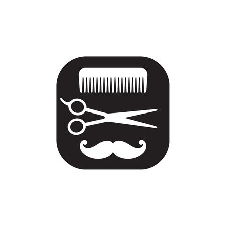 黒と白のアイコン、白い背景にベクトル抽象的なロゴをドレッシング。櫛、はさみ、口ひげ美容道具セット。  イラスト・ベクター素材