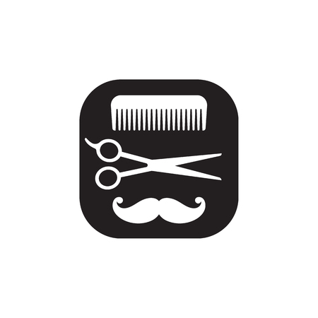 Hairdressing black and white icon, vector abstract logo on white background. Comb, scissors, mustache. Hairdressers tools set. Stock Vector - 92493978
