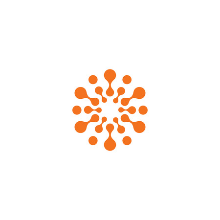 Abstract sun, orange color related circles logo. New technology vector symbol.