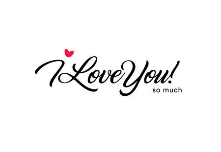 Ich liebe dich so sehr schöne Schrift, Text mit kleinen roten Herzen. Valentinskarte für den heiligen Valentinstag, Liebessymbol Vektorgrafik
