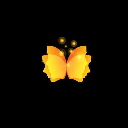Magic butterfly wings from facial masks, abstract orange vector logo template