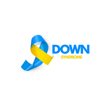 Blue and yellow ribbon with text for world down syndrome day vector illustration. Stock Illustratie