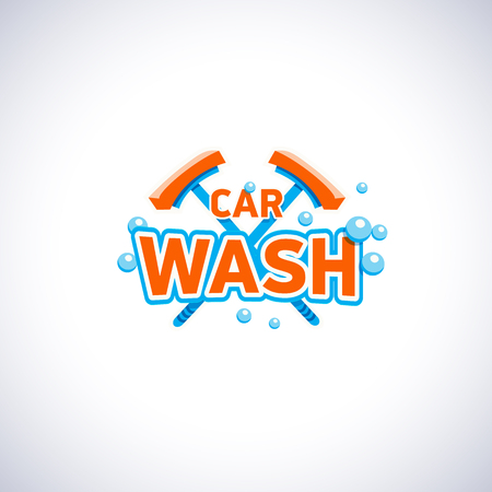 Car wash cartoon style emblem with bubbles and mop, isolated vector template. Cleaning service company logotype.