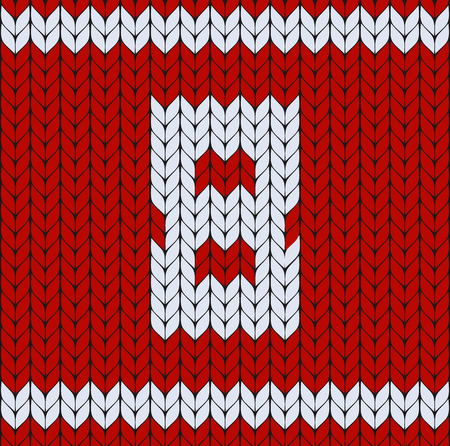 Number eight symbol, happy womens day background, red knitted vector pattern. Sweater design. Woolen fiber texture
