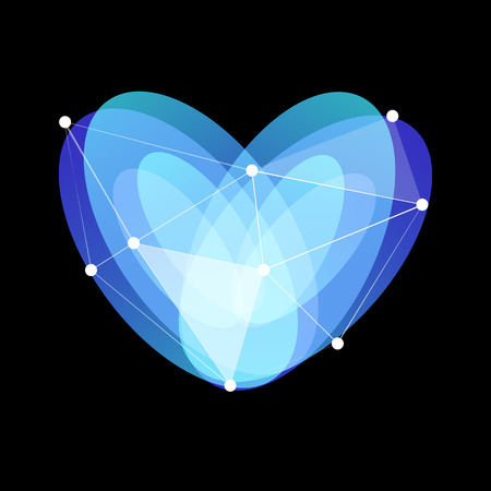 Blue abstract glass heart symbol with lines web and dots on black background, unusual isolated vector logo. Illustration