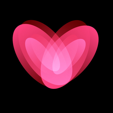 Trembling love, tender feelings, love and passion symbol, isolated abstract unusual vector logo on black backgound