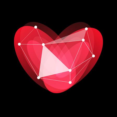 Happy Valentines Day logo, red, glass, porcelain heart, love holidays, greeting internet card, vector illustration on black background Illustration