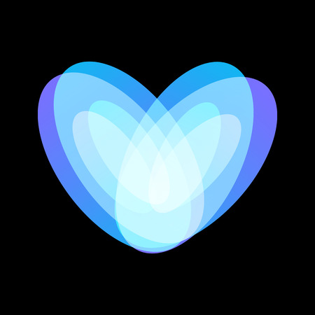 Blue abstract heart symbol on black background, unusual isolated vector logo. Unconventional love icon on black background.