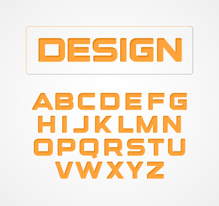 Geometric minimalist technological design font. Alphabet symbols, vector collection. Orange stylized letter set. Illustration