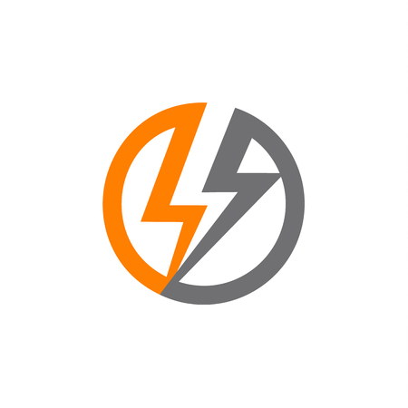 Renewable sources of energy, lightning in circle abstract vector logo. Illustration